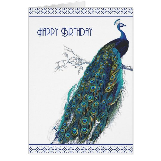 Blue Vintage Peacock - Happy Birthday card