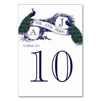 Blue Vintage Peacock Wedding Table Number Card Table Cards