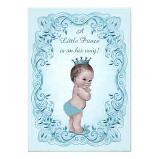 Blue Vintage Prince Baby Shower 13 Cm X 18 Cm Invitation Card