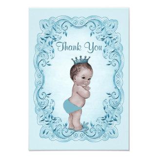 Blue Vintage Prince Baby Shower Thank You 9 Cm X 13 Cm Invitation Card