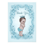 Blue Vintage Prince Baby Shower Thank You Invite