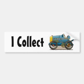Blue Vintage Race Car I Collect Bumper Sticker Car Bumper Sticker