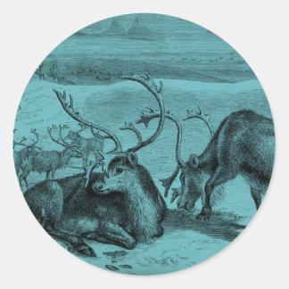Blue Vintage Reindeer Illustration Round Sticker