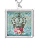 Blue Vintage Rose and Crown Square Necklace