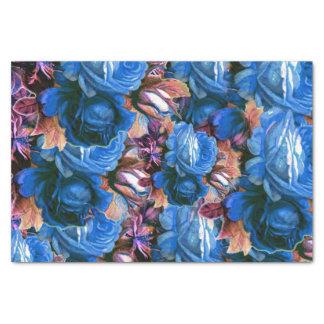 Blue Vintage Roses Grunge Tissue Paper