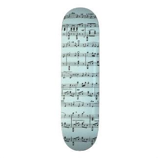 Blue Vintage Sheet Music Skate Board
