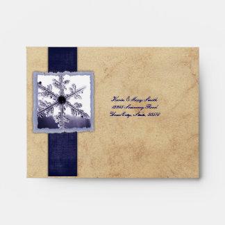 Blue Vintage Snowflake RSVP Envelopes