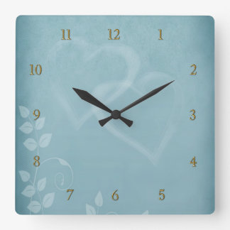 Blue Vintage Square Wall Clock