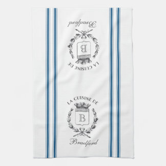Blue Vintage Style French Sack with Custom Name Tea Towel