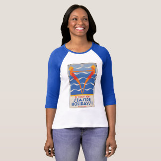 Blue vintage t-shirt by train for seaside holidays