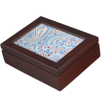 Blue Vintage Texture Pattern Keepsake Box