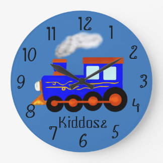 Blue vintage themed Train Clock