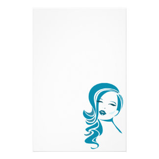 Blue Vintage Woman Face Stationery Paper