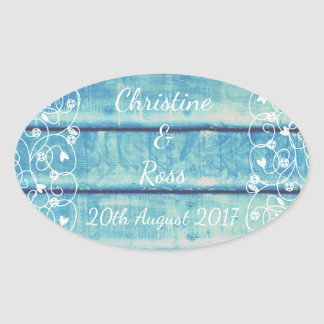 Blue vintage wooden wedding sticker