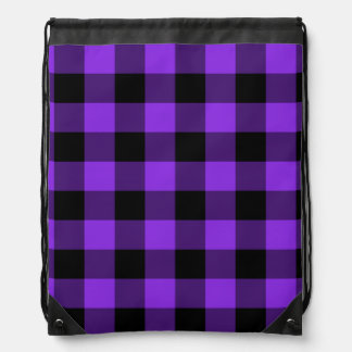 Blue Violet and Black Gingham Drawstring Bag