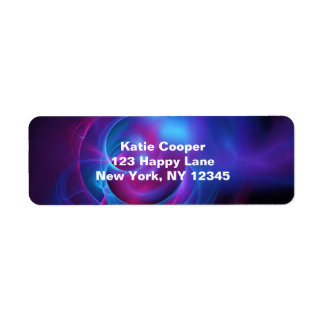 Blue Violet and Pink Cosmic Swirly fractal Return Address Label