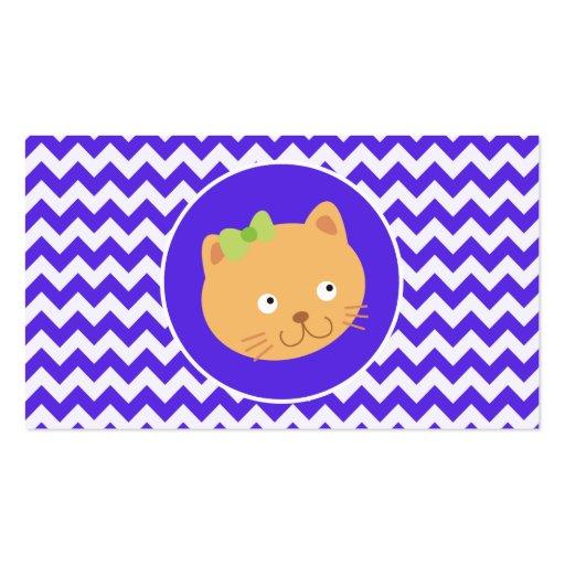 Blue Violet Chevron; Kitten Business Card Template