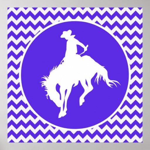 Blue Violet Chevron; Rodeo Poster