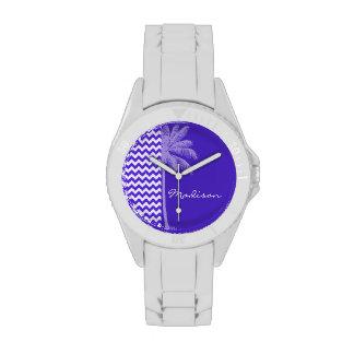 Blue Violet Chevron; Tropical Palm Watches