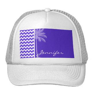 Blue Violet Chevron; Tropical Palm Trucker Hats