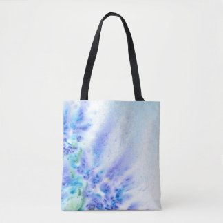 Blue Violet Field of Flowers Abstract Watercolor Tote Bag