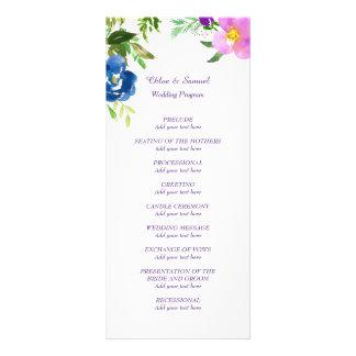 Blue Violet Garden Wedding Program Rack Card