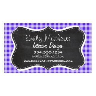 Blue Violet Gingham; Chalkboard look Business Card Template