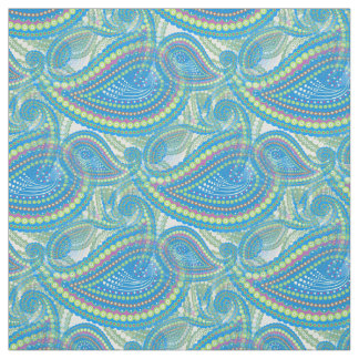 Blue Violet Lime Green Paisley Floral Pattern Fabric