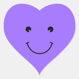 Blue Violet Smiley Face Heart Sticker