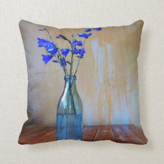 Blue Violet Throw Pillow with Orange Background
