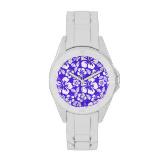 Blue Violet Tropical Hibiscus Wrist Watches