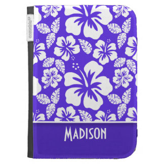 Blue Violet Tropical Hibiscus; Personalized Kindle Keyboard Cases