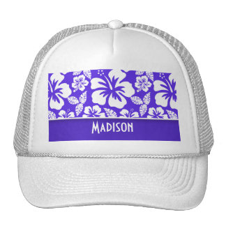 Blue Violet Tropical Hibiscus; Personalized Hats