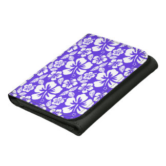 Blue Violet Tropical Hibiscus Leather Tri-fold Wallet