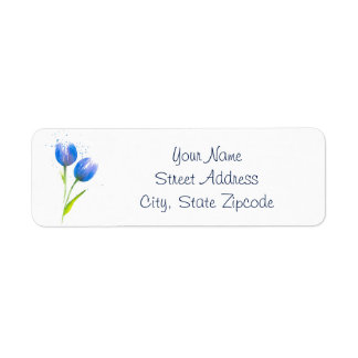 Blue Violet Tulips Return Address Label
