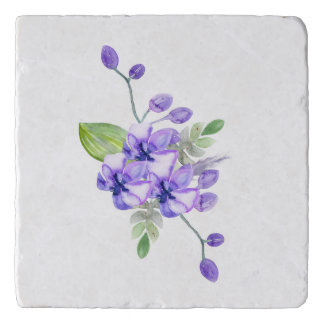 Blue Violet Water Colour Orchid Trivet
