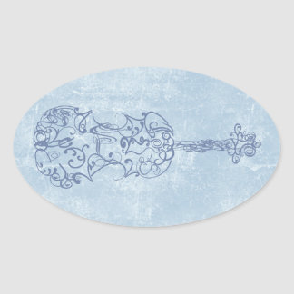 Blue Violin Line Drawing Oval Sticker