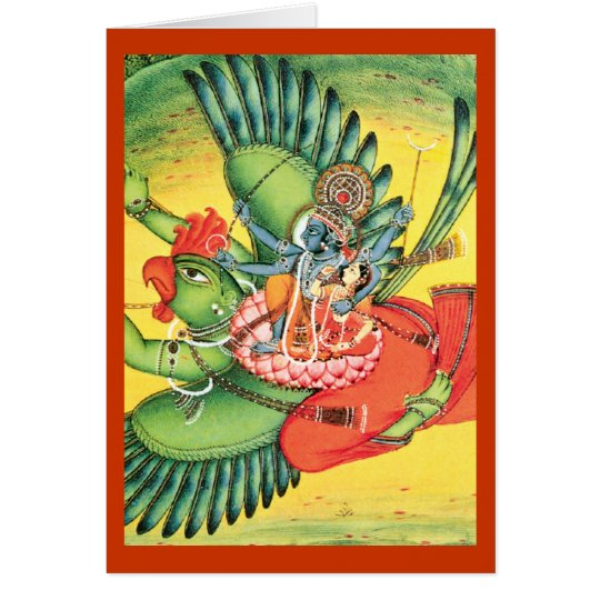 Blue Vishnu Hindu God Art Card