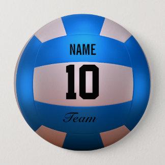 Blue Volleyball 10 Cm Round Badge