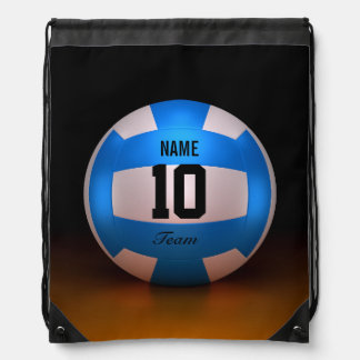 Blue Volleyball Drawstring Bag
