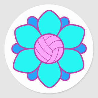 Blue Volleyball Girl Classic Round Sticker