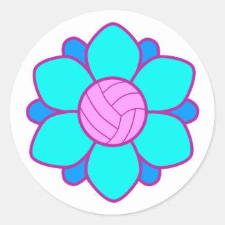 Blue Volleyball Girl Classic Round Sticker