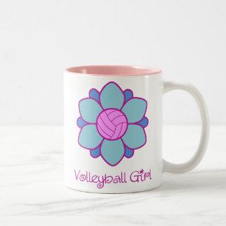 Blue Volleyball Girl Two-Tone Coffee Mug