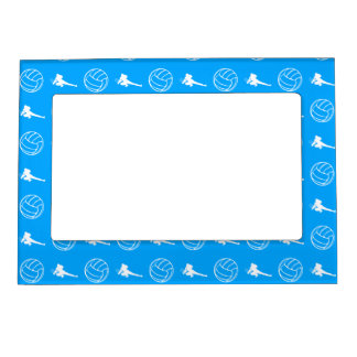 Blue Volleyball Pattern Magnetic Picture Frame