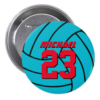 Blue Volleyball Sports Team Button Pin