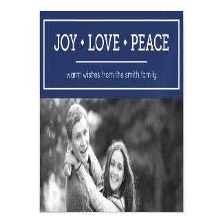 Blue Warm Wishes Joy Love Peace Holiday Photo Magnetic Invitations