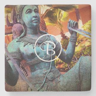 Blue warrior photo custom monogram stone coaster
