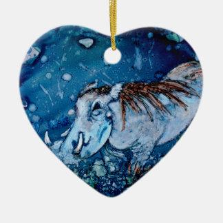 Blue Warthog Christmas Ornament