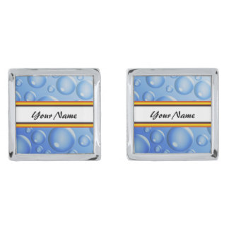 Blue Water air bubbles Silver Finish Cuff Links