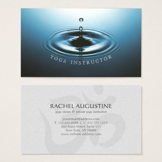 Blue Water Drop Ripple & OM Symbol YOGA Instructor Business Card